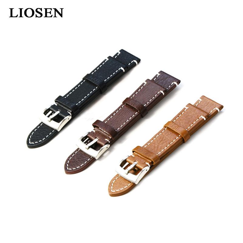 Prix pour LIOSEN Acier Inoxydable Boucle Véritable Bracelet En Cuir Vintage Style de Bracelet De Montre 18mm 20mm 22mm Noir Brun Clair brun