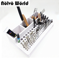 4 Size White Wood Plastic DIY Punch Tools Holder Organizer Storage Box Leather Craft Carved Cut