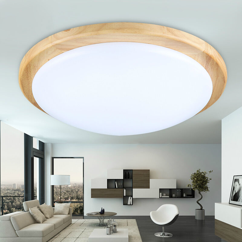 Fashion Modern Bedroom OAK Round Acrylic LED Ceiling Lights Fixture - Wooden kitchen light fixtures