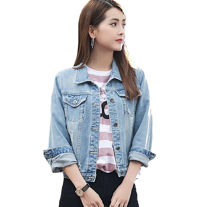 Loose women básica bf primavera chaqueta de mezclilla otoño 2017 vintage agujero
