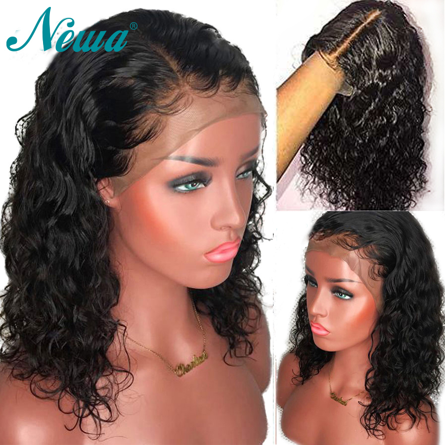 Full Lace Human Hair Wigs Pre Plucked With Baby Hair Water Wave Full Lace Wig Brazilian