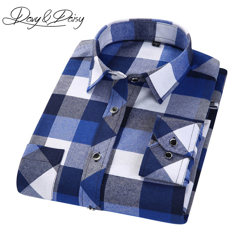 DAVYDAISY 2017 Spring Autumn Casual Shirt Men British Style Plaid Long Sleeve Shirts Male Chemise Homme 12 Colors DS-171