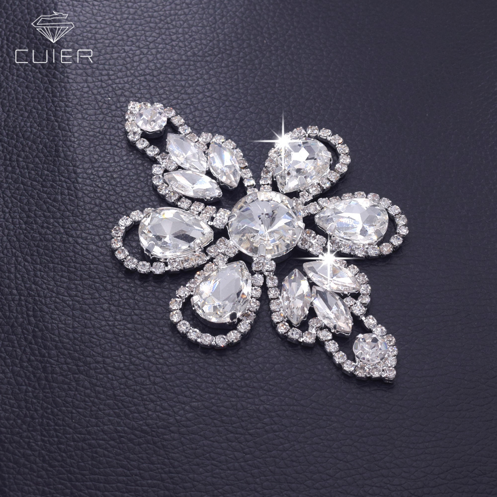 30pcs Handmade Clear Glass Strass Bridal Shoulder strap Appliques Rhinestone Patches Sew on DIY Silver plated
