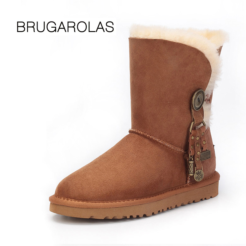 BRUGAROLAS - Hot Selling Nature fur real Wool genuine sheepskin leather short snow boots for women casual Short winter shoes topfund hollow handle clear a third eye chakra indigo color crystal singing bowl 6