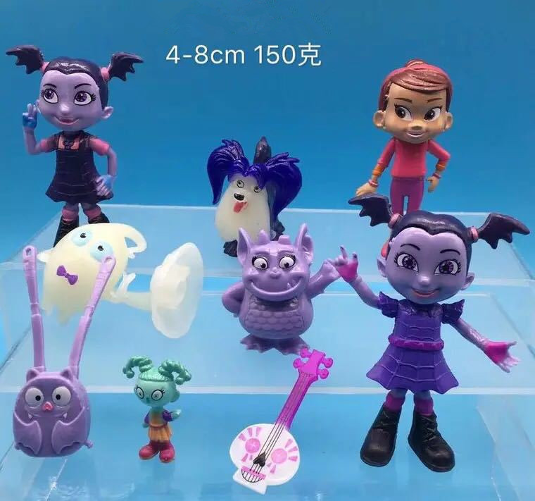 Hot 9pcs/lot Anime Junior Vampirina The Vamp Batwoman Girl Action Toy Figure PVC Model Toys For Kids Christmas Birthday Gift Hot 9pcs girl cartoon birthday candle