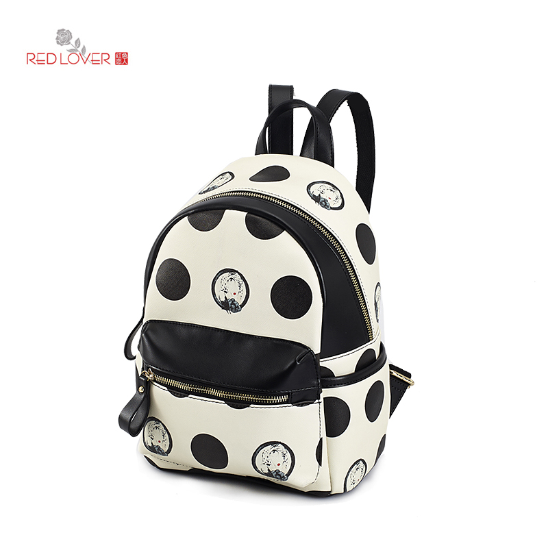 ФОТО Red Lover Girls Mini backpack soft PU leather school bag Preppy style backpacks Vintage Women double handle shoulder bag