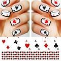 1 hoja de Poker moda de transferencia de agua Nail Art Sticker naipes consejos de diseño manicura etiquetas del arte del clavo STZ-252