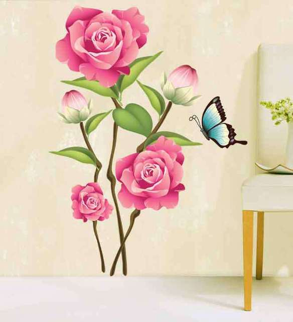 3D Wall Art Pvc Romantic Red Rose Wall Sticker For Living Room Bedroom  Decoration Nature Wall