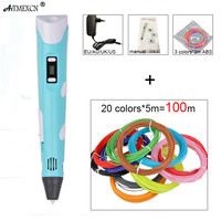 3D Pen DIY 3D Printer Pen Drawing 3d Printing Pens with 100M ABS Filament 1.75mm for Kids Christmas Birthday New Year gift