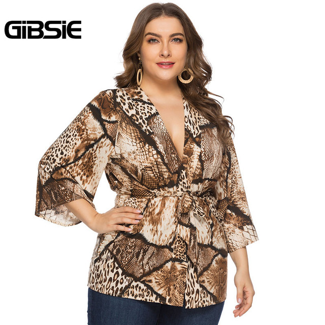 GIBSIE Sexy Deep V Neck Snakeskin Print Cardigan Top 4xl 5xl 6xl Women Plus Size Office Lady 3/4 Sleeve Belted Blouses Tops 3