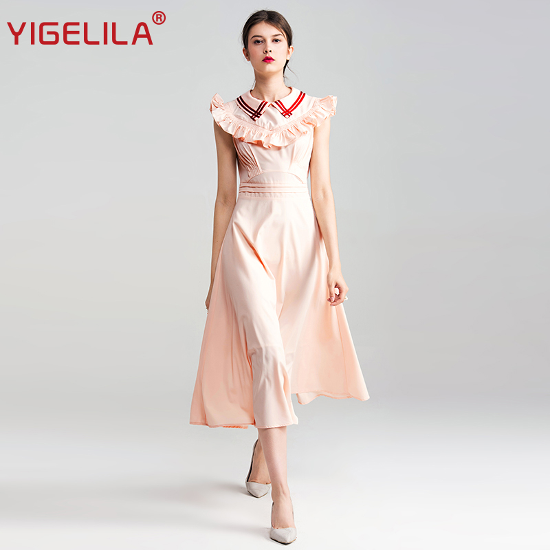 YIGELILA 2019 Latest Summer Women Fashion O neck Sleeveless Solid Bow Empire Sheath Ankle Length A