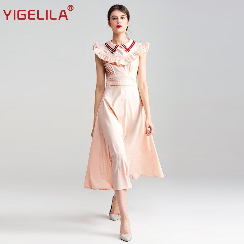 YIGELILA 2019 Último Verano Moda Para Mujer O-cuello Sin Mangas Arco - Ropa de mujer