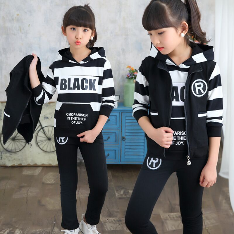 Girls sportswear three-piece set of 2019 spring new fashion medium large version girls spring and autumn casual suit hooded clGirls sportswear three-piece set of 2019 spring new fashion medium large version girls spring and autumn casual suit hooded cl