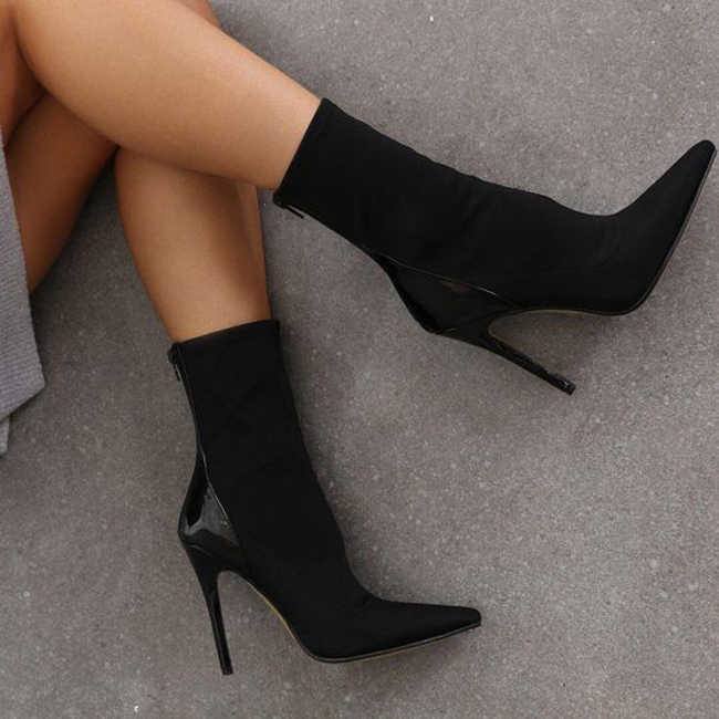fd2421388c Red Blue Patchwork Stretch Fabric Sock Boots Women Sexy Pointed Toe High  Heel Women Boots 41
