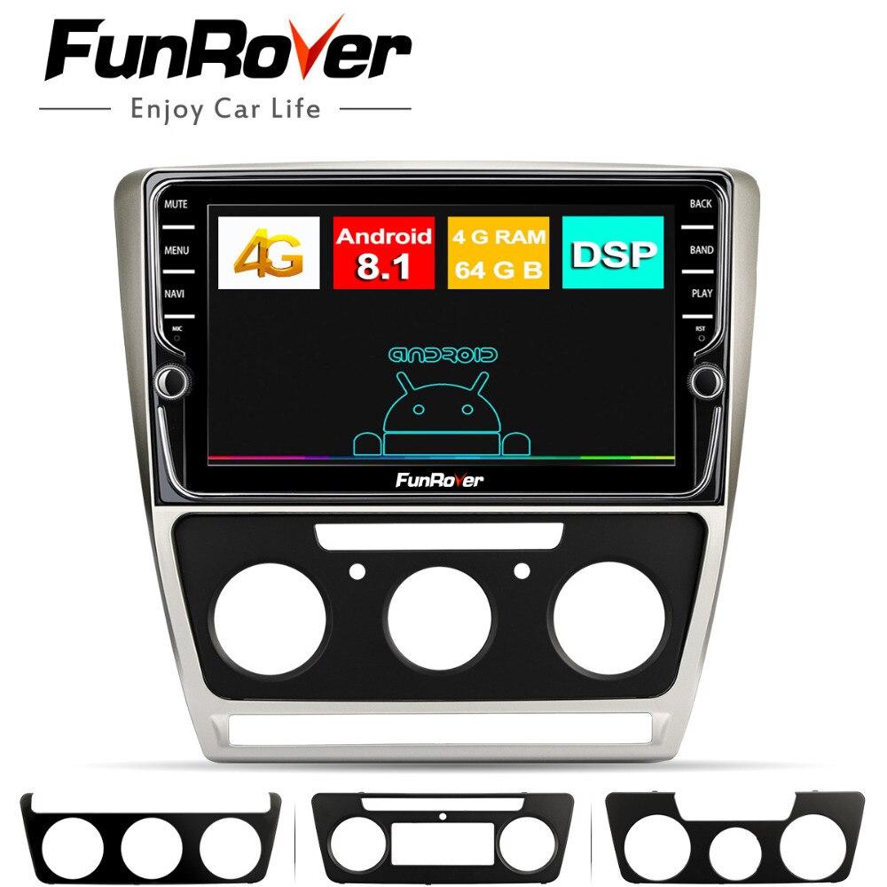 Lecteur multimédia de voiture Funrover Android8.1 pour Skoda Octavia 2012 2013 A 5 A5 Yeti Fabia 2din dvd de voiture gps radio navigation 4G + 64G