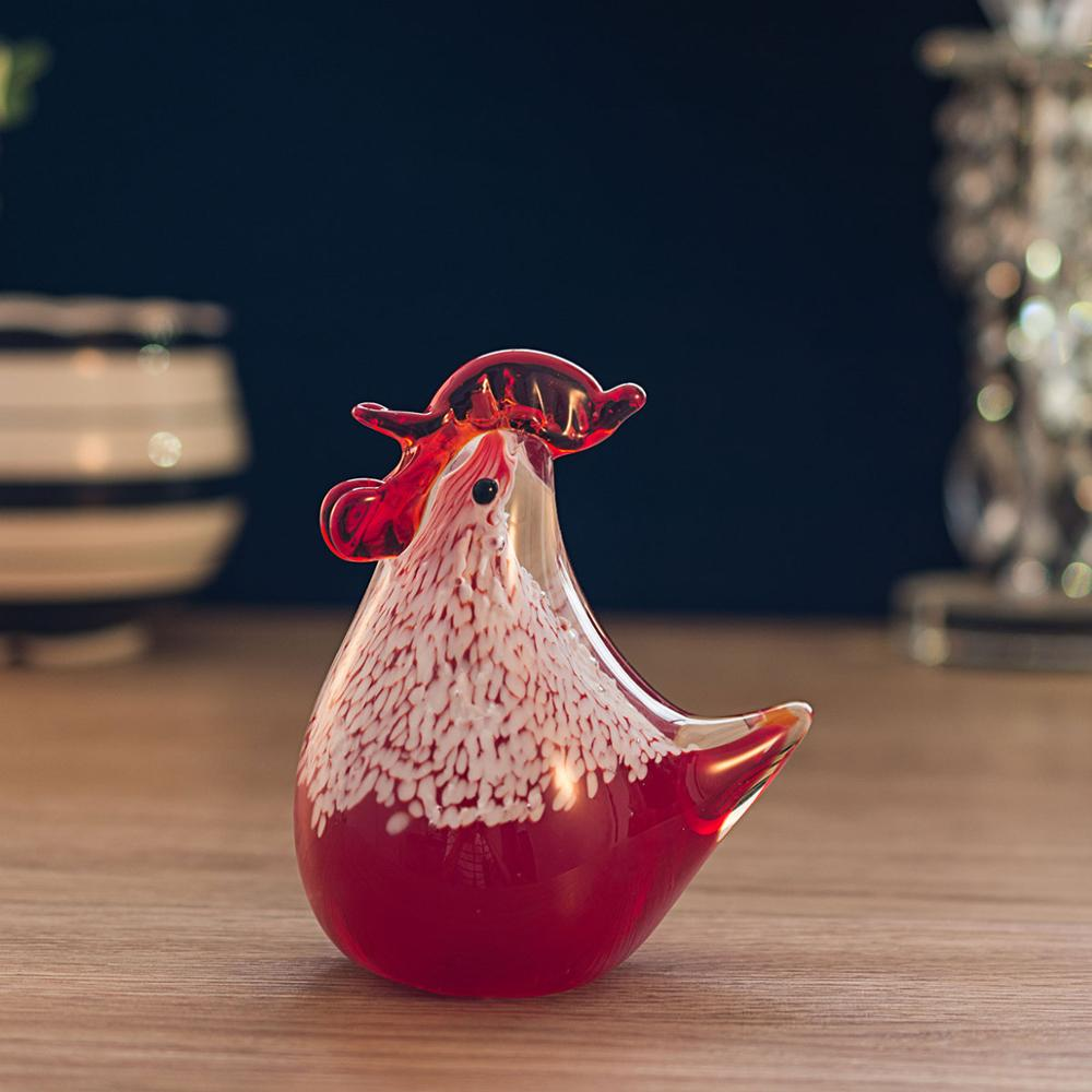 Small Chicken Figurine Crystal Statuette Home Decor Glass Art Ornament Sculpture Gift Animal Craft For Home Office 3 Color Type Скульптура
