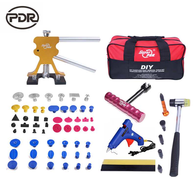 Super PDR Tools Auto Repair Tool Dent Repair Kit Car Body Repair Kit Dent Lifter T-Bar Puller 220 V Glue Gun Tool Bag 5 second fix liquid plastic welding kit uv light repair tool glue kit