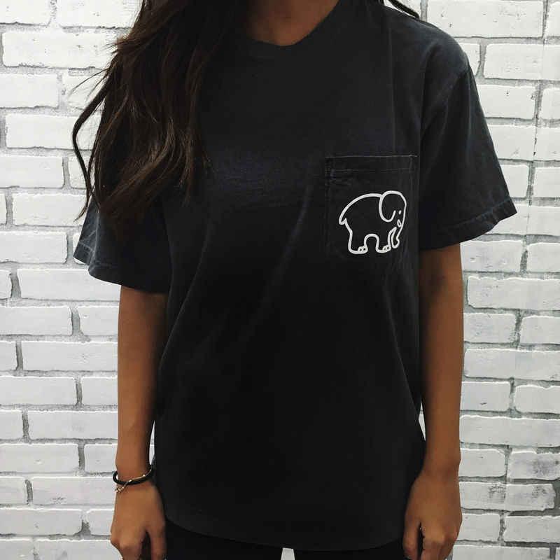 9c6baa3ee6b4f5 Ladies Girls Elephant Print Summer Black Loose T Shirt Tops Plus Size S M L  Xl