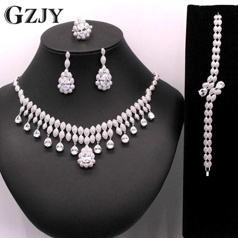 GZJY Gorgeous Shining White Gold Color Waterdrop AAA Zircon Necklace Ring Earring Bracelet For Women Bridal Wedding Jewelry Sets gorgeous faux crystal oval bracelet with ring for women