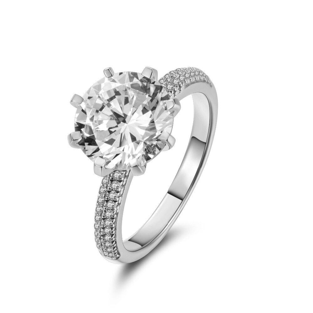 2018 classique luxe réel solide 925 bague en argent Sterling 3Ct 10 cœurs flèches Zircon bijoux de mariage anneaux de fiançailles pour les femmes