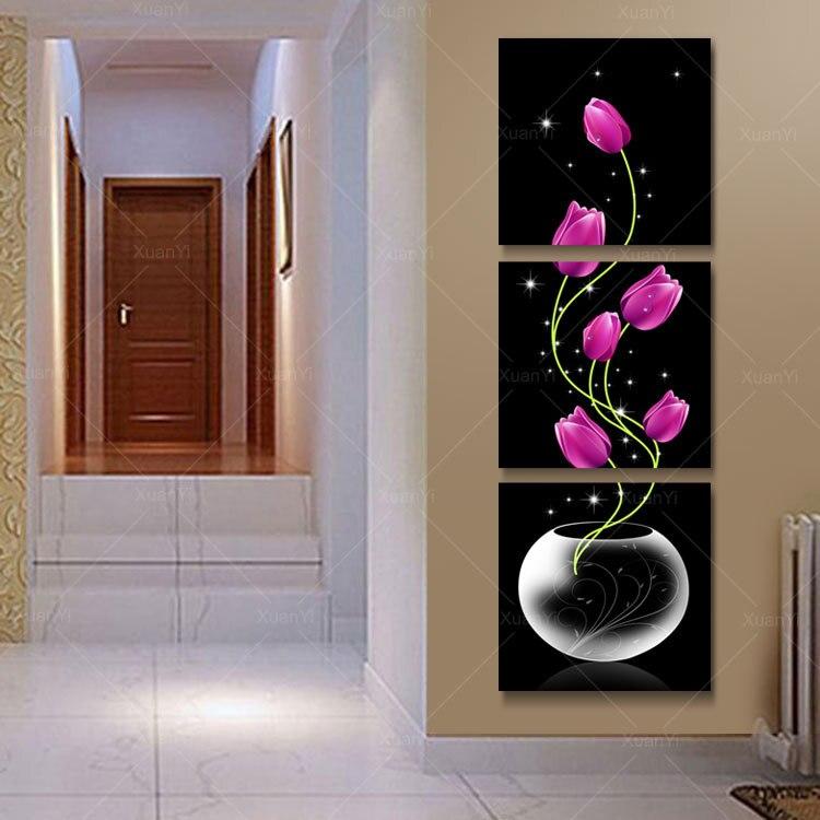 ᗗ3 Panel Moderne Gedrukt Rode Bloem Olieverf Canvas Wall Art ...