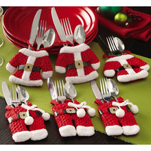Cute Dinner Cutlery Bag Christmas Decor Snowman Holder Pocket Tableware Pouch Kitchen Table Decoration