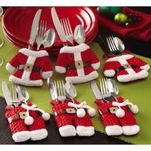 Cute Dinner Cutlery Bag Christmas Decor Snowman Holder Pocket Tableware Pouch Kitchen Table Decoration