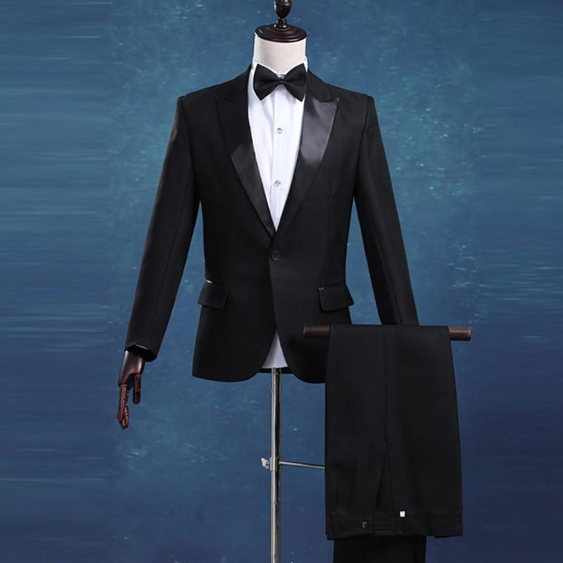 New Arrival Luxury Men Bridegroom Groomsmen Suits for Wedding Casual Business Gentleman Black Tuxedo Suit (Jacket+Pants+Bowtie)