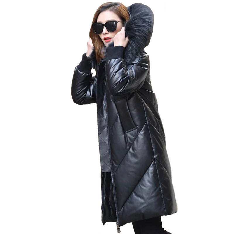 Winter Parkas Women Real Leather   Down   Jacket Raccoon Fur collar Sheepskin Jacket Female Plus size 5XL White duck   down     Coats   2384