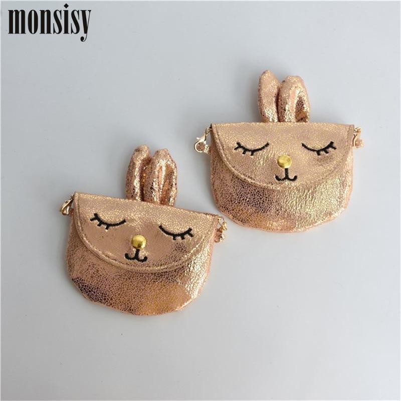 Monsisy 5PCS Lolita Children Wallet Rabbit Baby Purse and Handbag Girl Shoulder Bag PU Leather Metal Chain Kid Boy Messenger Bag
