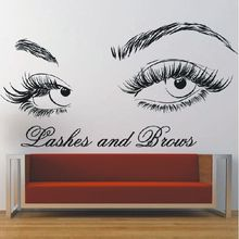 Beauty Salon Decor Lashes And Brows Wall Decal Vinyl Eyelashes Sticker Mural Make Up Shop Stickers AY1205