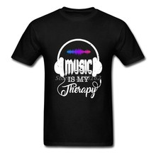 Men T-Shirts Music is My Therapy Perfect Funny Tops Greek tshirt O Neck Family Camisetas(China)
