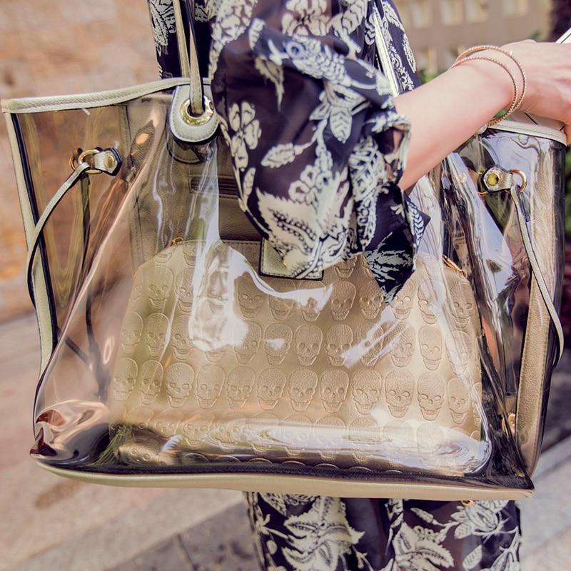 2018 été femmes plage sac clair Transparent sac à main grand décontracté fourre-tout étanche cristal gelée sac crâne Designer sac à bandoulière