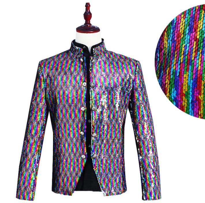 Turnable Sequin Blazer Men Chinese Tunic Suit Designs Stage Singers Jacket Mens Clothes Dance Star Style Colorful Laser Dress