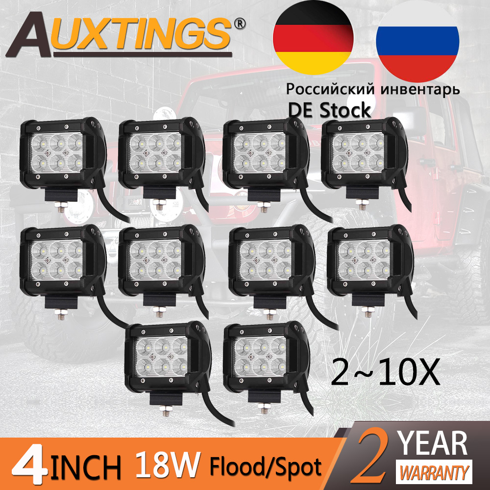 Sale 2~10pcs LED 18W Work Lamp 4'' Inch Light Bar 24v 12V IP67 Spot Flood For Boat Truck Tractor 4x4 Offroad Car Led Work Light guleek f018bf 18w 1260lm 6000k 6 led white flood light working lamp for offroad car