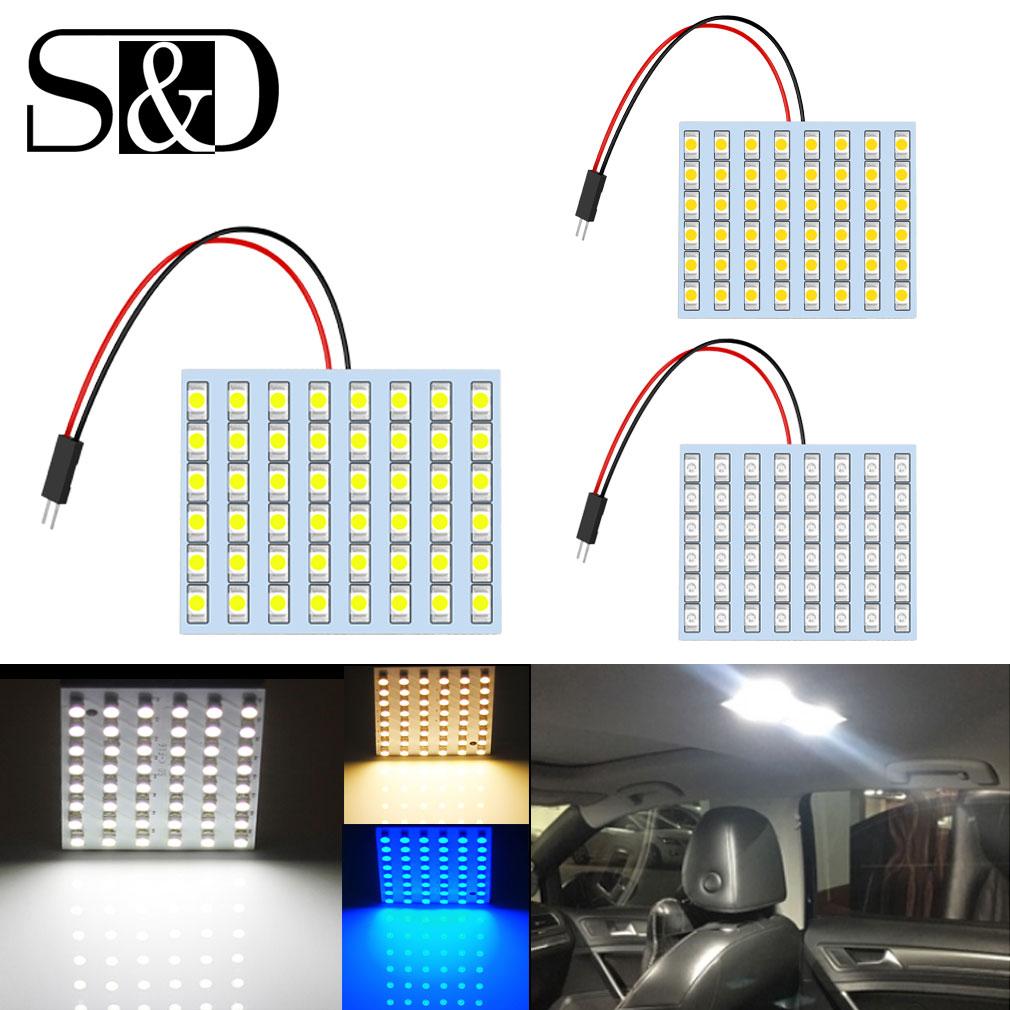 T10 BA9S Festoon Dome 48 SMD Warm White Panel Led Car Lamp 3 Adapters Bulb Light