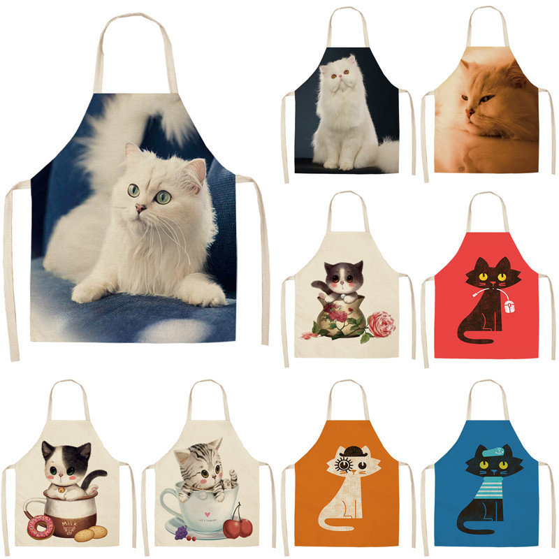 Kitchen Apron For Woman Cute Cartoon Cat Printed Sleeveless Cotton Linen Aprons For Cooking Home Cleaning Tools 53*65cm A1008