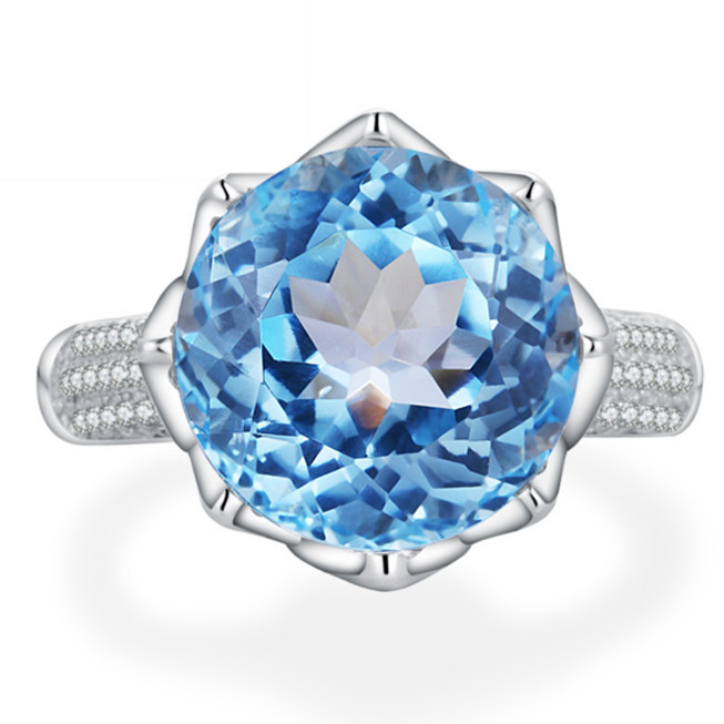 Natural Blue Topaz Ring 925 Sterling silver Woman Large Fine Elegant Gem Jewelry Queen Girl Birthstone Luxury Gift Flower anniversary ring necklace earrings jewelry set natural aaa blue topaz stone birthstone woman fine 925 sterling silver jewelry