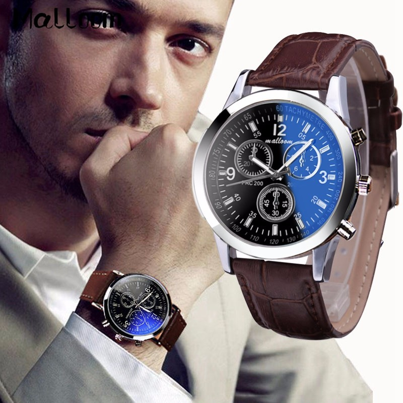 Malloom Mens Roman Numerals Blue Ray Glass Watches Men Luxury Leather Analog Quartz Business Wrist Watch Men's Clock Relogio #YL retro gobren roman numerals silver plated 2 sides carving elegant pocket watch mens analog quartz fob waist women luxury watch