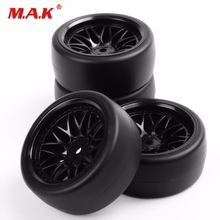 4Pcs/Set 1:10 Scale Drift Tires and Wheel Rim with 12mm Hex fit HSP HPI RC 1/10 On Road Car 1 10 rc car on road tires w foam insert for hsp hpi tt01 1 10 rc car part 4pcs
