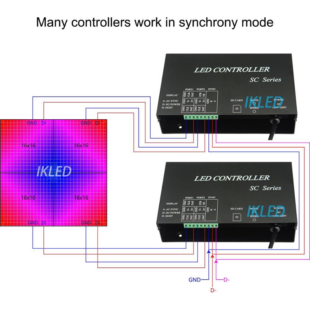 Ha condotto il regolatore musica, 2 porte drive 4096 pixel, supporto modalità di sincronia, DMX512, WS2812, UCS1903, SM16703 controller di musica, software per PC - 4