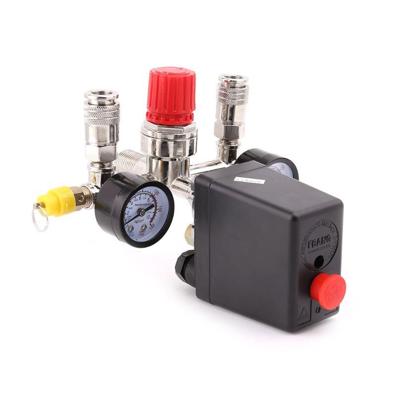 Air Compressor Pressure Control Switch Valve 0.5-1.25MPa With Manifold Regulator & GaugesAir Compressor Pressure Control Switch Valve 0.5-1.25MPa With Manifold Regulator & Gauges