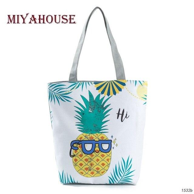 Miyahouse Trendy Female Casual Beach Bags Cute Fruit Print Canvas Tote Women Single Shoulder Ping Handbags