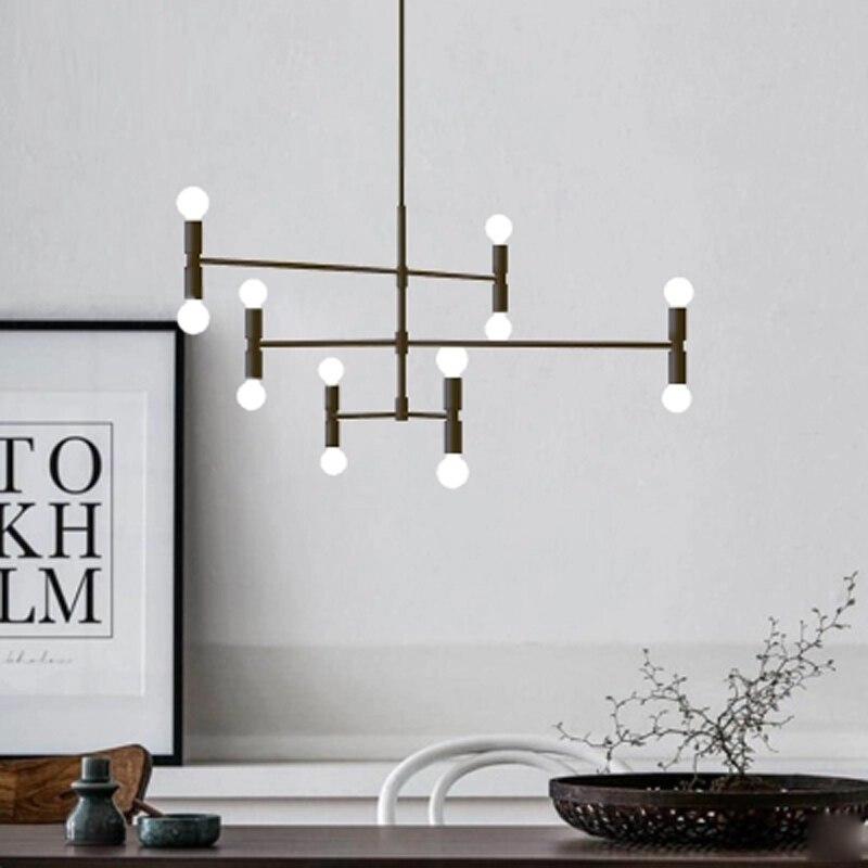 Современный минималистский Творческий Утюг Nordic люстра Золотой E14 лампы освещения 360 градусов регулировка угла