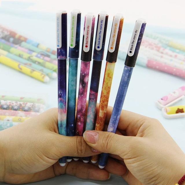 6 PCS / set Color Gel Pen Starry Pattern Cute Kitty Hero Roller Ball Pens Stationery Office School Supplies