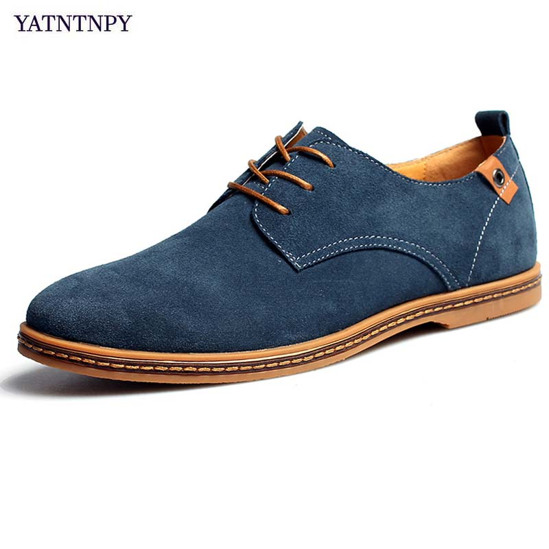 YATNTNPY Classic Brogue Shoes Men   Suede     Leather   Shoes Man Plus Big Size 38-48 oxfords fashion dress shoes casual man shoes