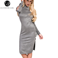 Lily Rosie Girl Grey Lace Up Long Sleeve Women Midi Sweater Dresses 2017 Autumn Winter Sexy