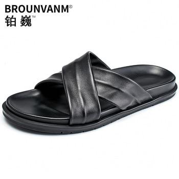 Beach Slippers Mens Genuine Leather Korean Version Outdoor Flip Flops Roman casual Shoes beach outdoor anti-skid summer cowhide