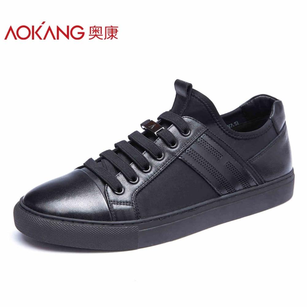 AOKANG New Arrival men s casual shoes men genuine leather shoes men s top fashion shoes