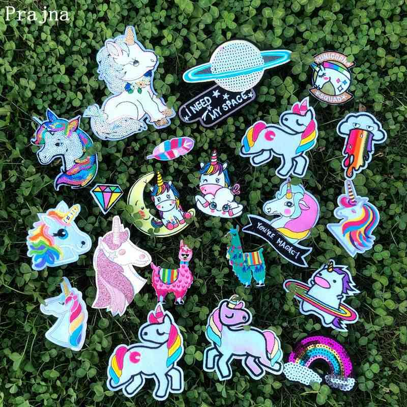 Prajña Hippie Eenhoorn Dier Streep Op Kleding Borduurwerk Ijzer Op Patches Voor Kinderkleding DIY Patch Applique Kleding Sticker